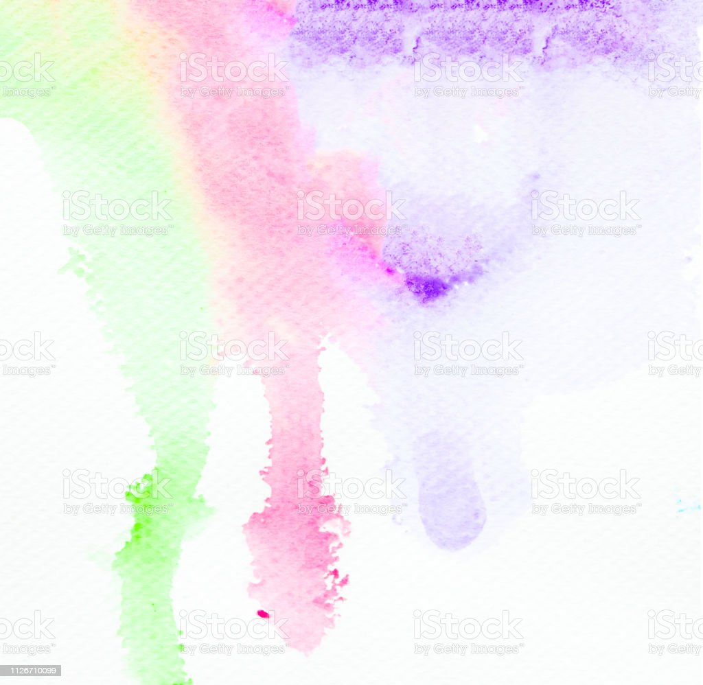 Watercolor Green Pink Purple Art Abstract Background Hand