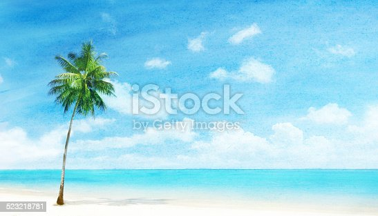 istock watercolor grunge image of beach 523218781