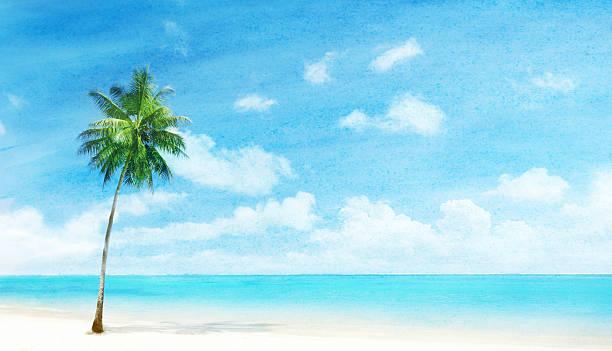 aquarell grunge bild von beach - himmel bilder stock-fotos und bilder