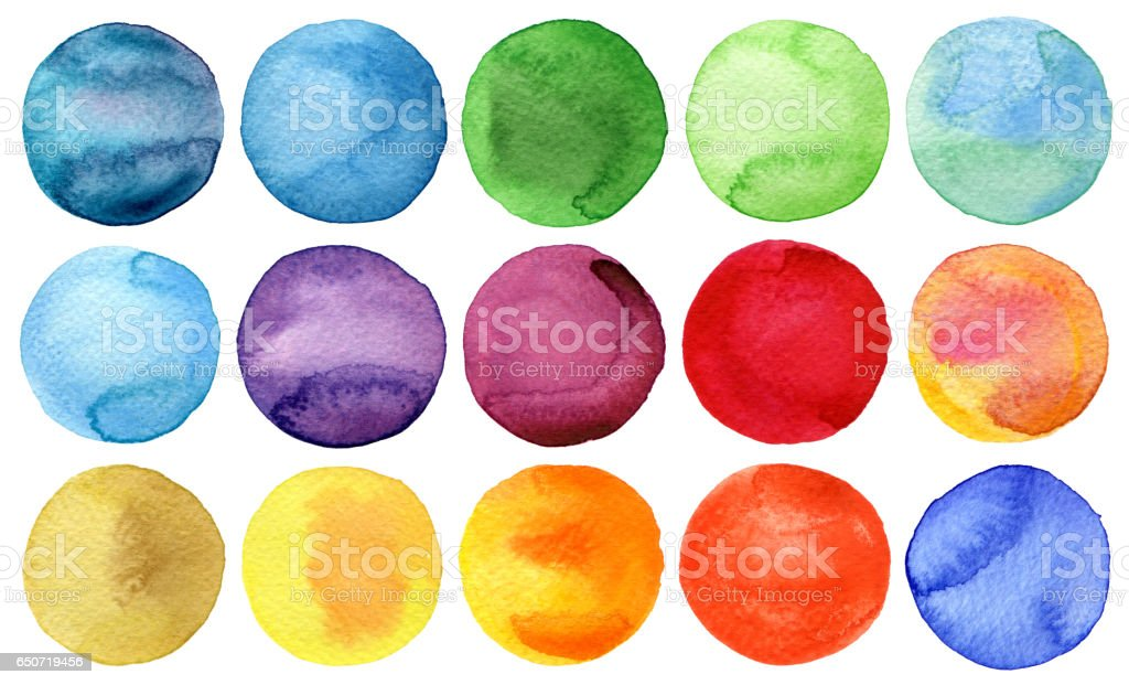 Watercolor hand painted circles collection - foto de stock
