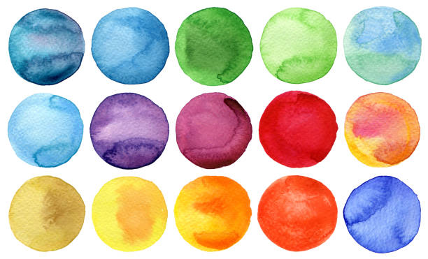 Watercolor hand painted circles collection stock photo