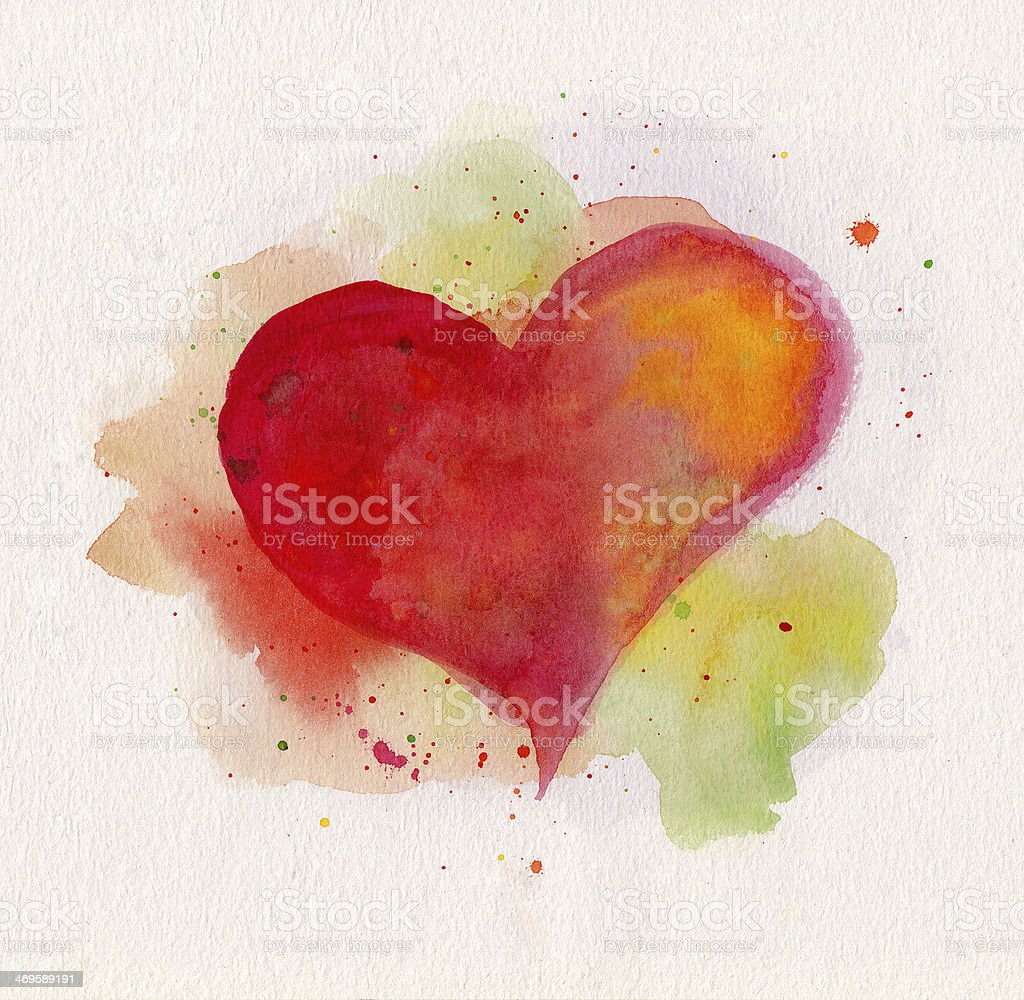 Watercolor heart stock photo