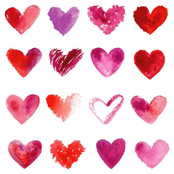 Aquarell Herzen liegt. Rot, Purpur und Violett Aquarell Herzen. – Foto