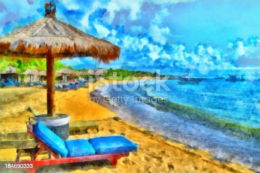 637797672 istock photo Watercolor illustration of a beach resort vacation setting 184690333