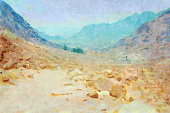 This is my Photographic Image of an Egyptian Landscape in a Watercolour Effect. Because sometimes you might want a more illustrative image for an organic look.