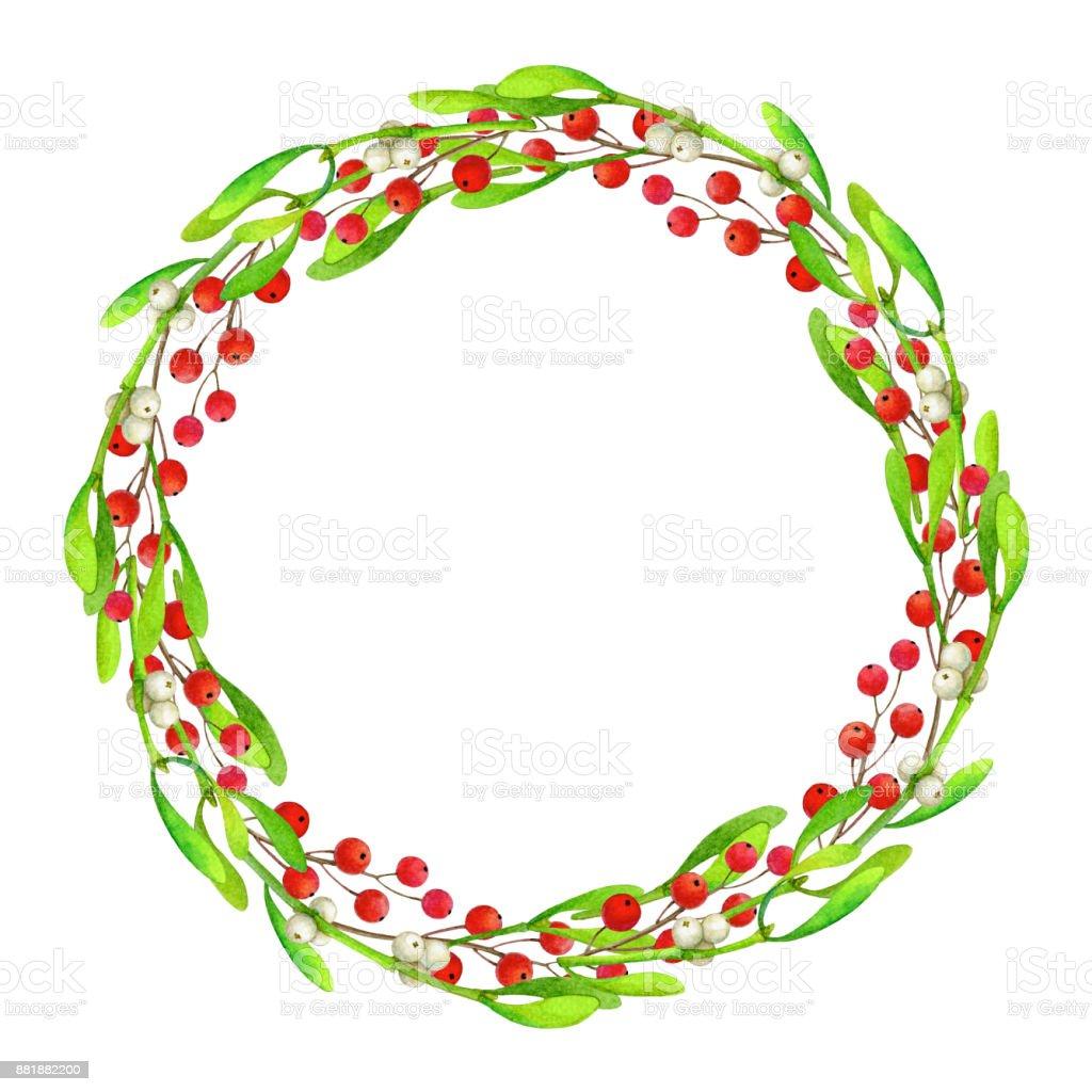 Watercolor illustration of Christmas wreath stock photo