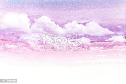 490140226istockphoto Watercolor illustration of cloud. 477956886