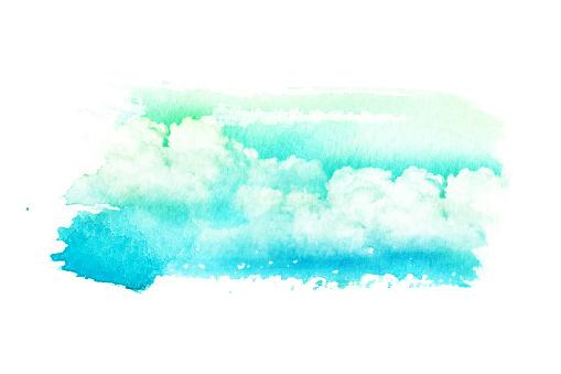 490140226 istock photo Watercolor illustration of cloud. 485900144
