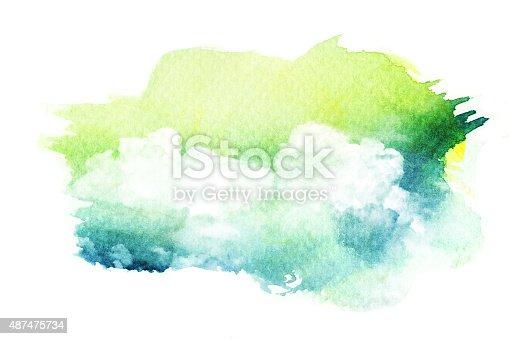 490140226istockphoto Watercolor illustration of cloud. 487475734