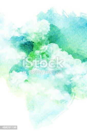 istock Watercolor illustration of cloud. 488091196