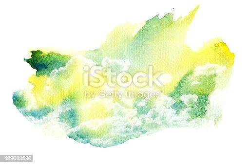 490140226istockphoto Watercolor illustration of cloud. 489083596