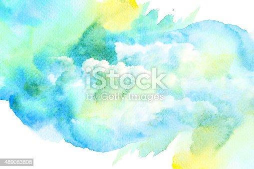 istock Watercolor illustration of cloud. 489083808
