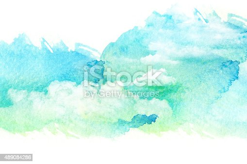istock Watercolor illustration of cloud. 489084286