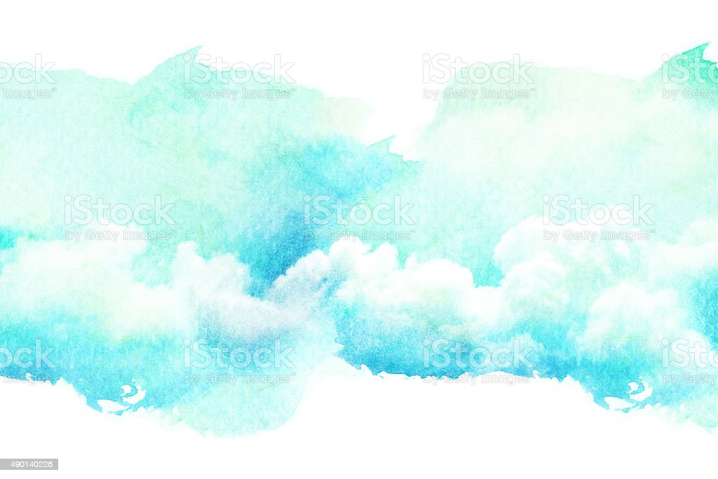 Watercolor Illustration Of Cloud Stock Photo - Download ...