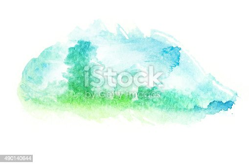 istock Watercolor illustration of cloud. 490140644