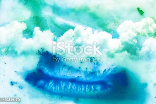 istock Watercolor illustration of cloud. 499314170