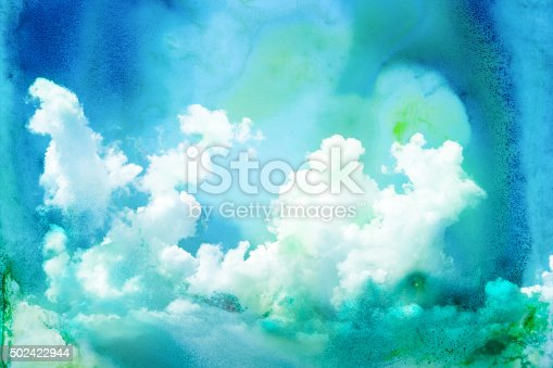 istock Watercolor illustration of cloud. 502422944