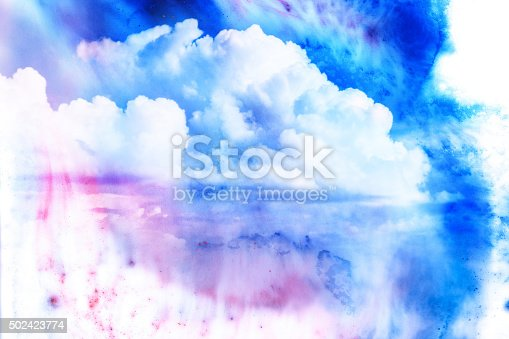 istock Watercolor illustration of cloud. 502423774