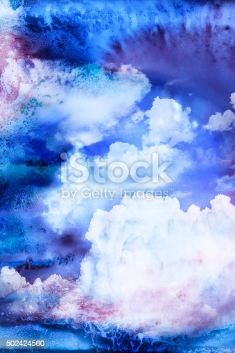 istock Watercolor illustration of cloud. 502424560