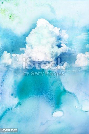 istock Watercolor illustration of cloud. 502574580