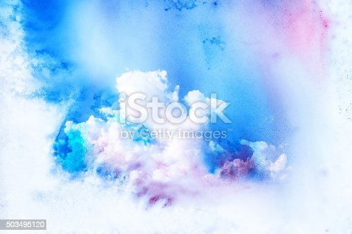 istock Watercolor illustration of cloud. 503495120
