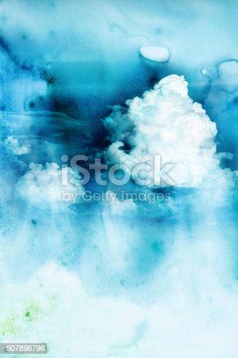istock Watercolor illustration of cloud. 507896796