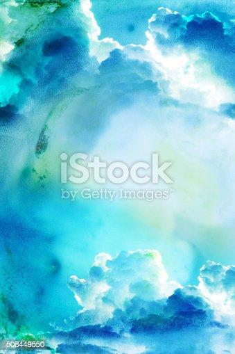 istock Watercolor illustration of cloud. 508449550