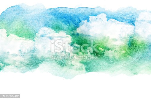 istock Watercolor illustration of cloud. 522748032