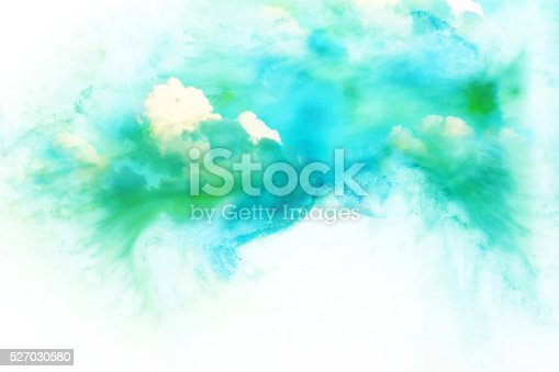 istock Watercolor illustration of cloud. 527030580