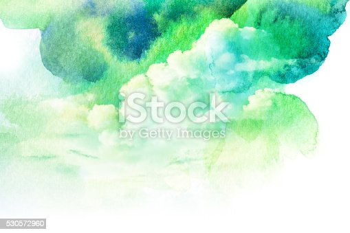 istock Watercolor illustration of cloud. 530572960