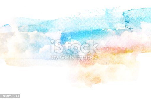 istock Watercolor illustration of cloud. 533242914