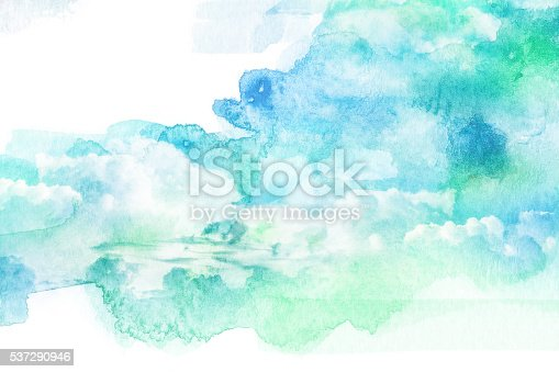istock Watercolor illustration of cloud. 537290946