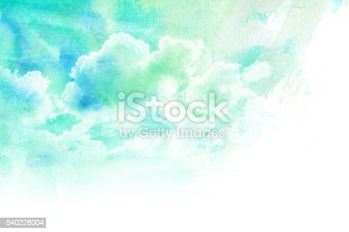 istock Watercolor illustration of cloud. 540228004