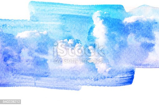 istock Watercolor illustration of cloud. 540228212