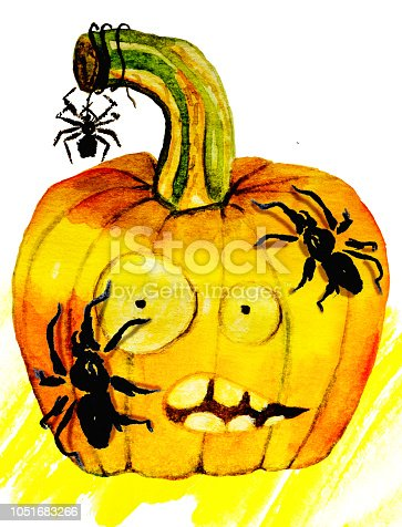 1057069236 istock photo Watercolor illustration of Halloween pumpkin with spiders 1051683266