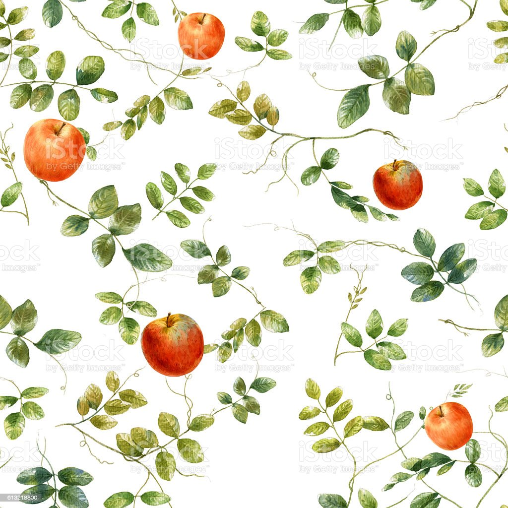 Watercolor illustration of leaf and apple, seamless pattern stock photo