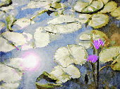 This is my Photographic Image of a Lotus Water Lillies in Pond in a Watercolour Effect. Because sometimes you might want a more illustrative image for an organic look.