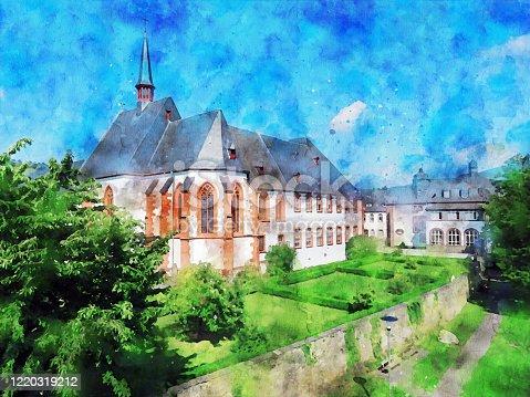 istock Watercolor illustration of old Cusanusstift monastery at Bernkastel-Kues. 1220319212