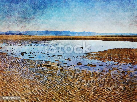 This is my Photographic Image of a Seascape Horizon at Lowtide in a Watercolour Effect. Because sometimes you might want a more illustrative image for an organic look. The image was taken in Pohara Beach, Near Takaka, in the Tasman District of New Zealand's South Island.