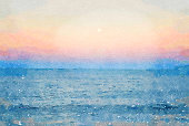 This is my Photographic Image of a Seascape Horizon at Sunset in a Watercolour Effect. Because sometimes you might want a more illustrative image for an organic look. The image was taken in Ruby Bay, Near Mapua, in the Tasman District of New Zealand's South Island.