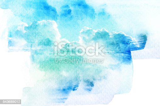 istock Watercolor illustration of sky with cloud. 543689012