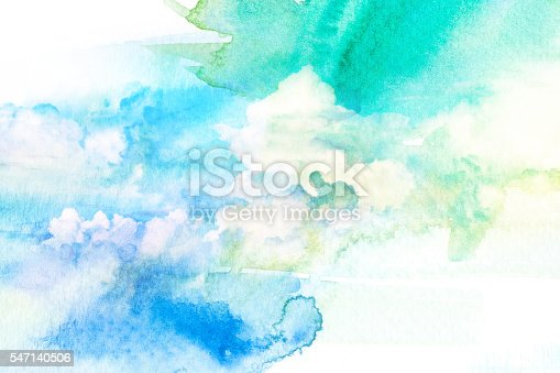 istock Watercolor illustration of sky with cloud. 547140506