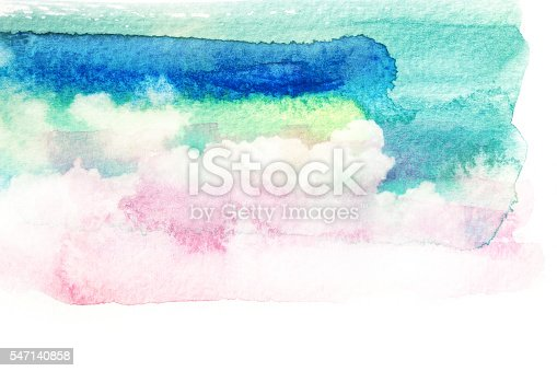 istock Watercolor illustration of sky with cloud. 547140858