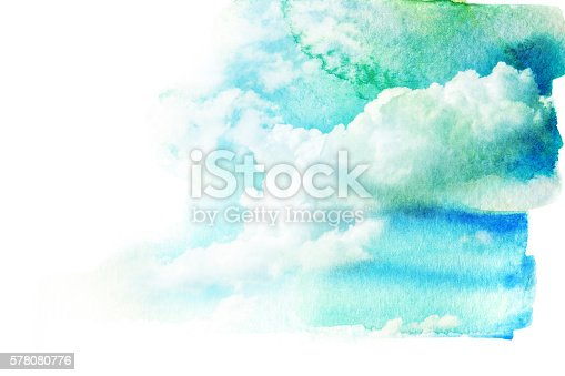 istock Watercolor illustration of sky with cloud. 578080776