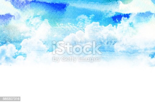 istock Watercolor illustration of sky with cloud. 585307316