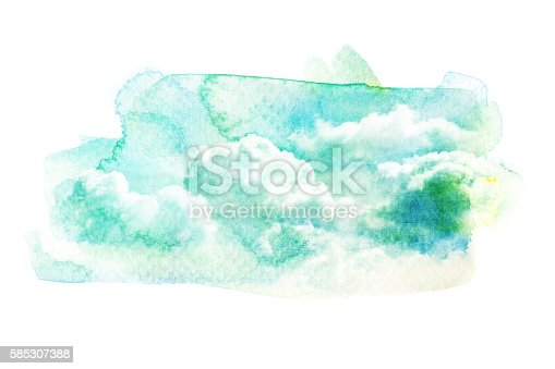 541305520 istock photo Watercolor illustration of sky with cloud. 585307388