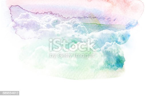 istock Watercolor illustration of sky with cloud. 589554612