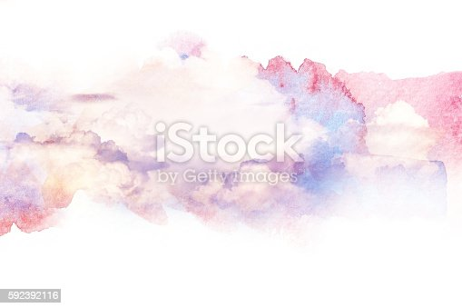 490140226istockphoto Watercolor illustration of sky with cloud. 592392116