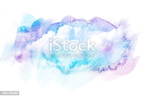 istock Watercolor illustration of sky with cloud. 600166462