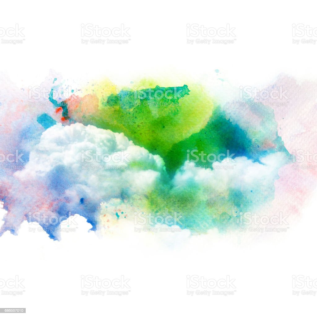 Watercolor illustration of sky with cloud. royalty-free stock photo